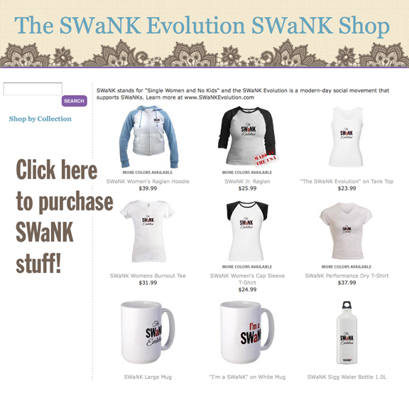 Single Women and No Kids t-shirts, mugs, bags and accessories